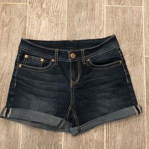 Seven7 Jean Cuffed Shorts Size 4 Dark Wash